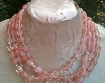 ON SALE PALOMA cherry quartz multi strand statement necklace
