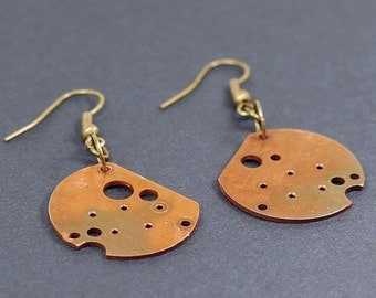 Copper Industrial Earrings- Upcycled Copper Clock Part Steampunk Earrings, Steampunk Jewelry, Copper Earrings, Contemporary Jewelry