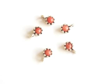 5 pcs- Matte Silver Plated  Coral Red Charm- 10x6mm (415-007SP)