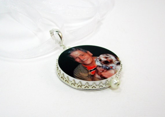 Bridal Bouquet Photo Charm - Round Sterling Framed Pendant, LG - FBC20P