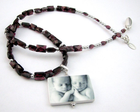 "Faceted Garnet Gemstone Necklace with Custom Photo Pendant - Lg (1.25"") - P1N"