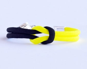 Neon yellow and black forever knot parachute cord rope bracelet