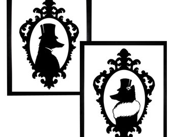 Fox Silhouette Art Print Set Black and White