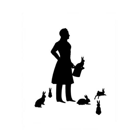 The Magician Silhouette Print Black and White Magic Rabbit Bunny Hare