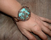 Turquoise Stone Copper Wire Wrapped Cuff Bracelet, Rustic Metal, Light Blue, Bohemian