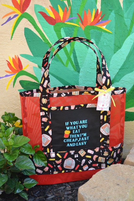 Tote Bag If You Are What You Eat Embroidered Fast Food Diner Fabric and Vinyl Mesh