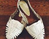 Vintage White Huarache Sandals, Size 7