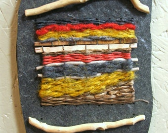 Fiber Art Wall Hanging Miniature by The Bent Tree Gallery  SALE was 95.00