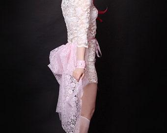 Short Pastel Baby Pink Lace Mid Length Lingerie boudoir  Bustle Wrap MTCoffinz - All Adult Sizes