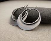 Big Hoop Earrings. Modern Sterling Silver Earrings. Crescent Dangle Earrings. Handmade Metalwork Jewelry.