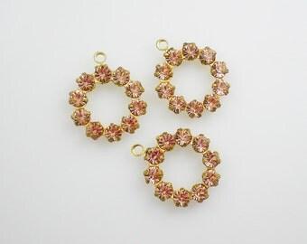 Light Peach Rhinestone Drop Circle Findings Swarovski Multi Rhinestone Round Findings Brass