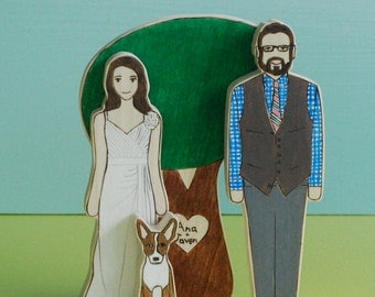 Custom Wedding Cake Topper Couple with Pet and Personalized Large Sweetheart Tree