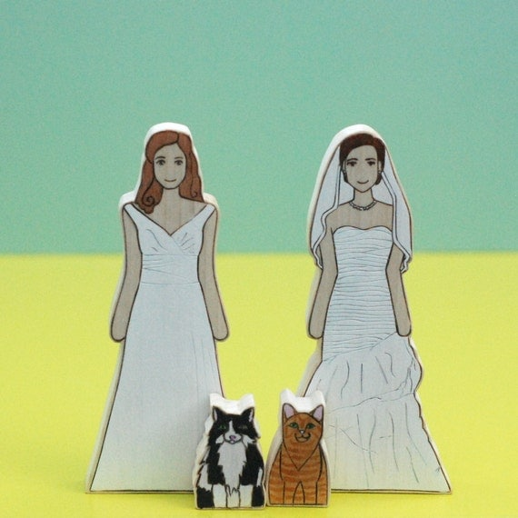 Custom Wedding Cake Topper Same Sex, Lesbian, Gay Couple with Two Pets