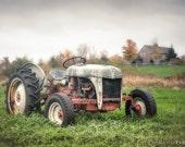 Old Tractor and Farmhouse, Rustic Autumn, Color Landscape, Farm Machinary, Original Fine Art Photography Print, Signed