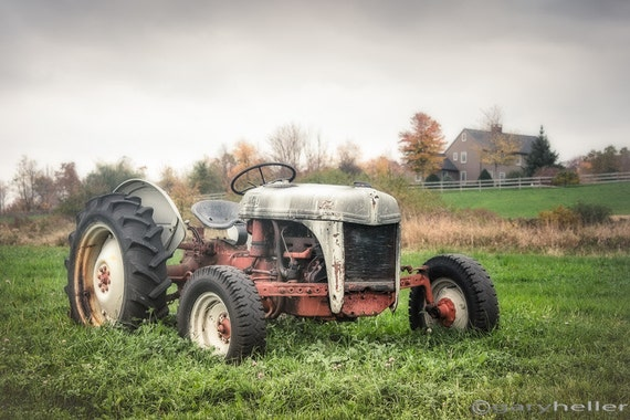 Old Tractor and Farmhouse, Rustic Autumn, Color Landscape, Farm Machinary, Original Fine Art Photography Print, Signed