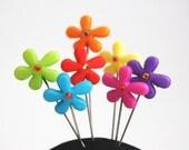 Flower Power Pins - Set of 7 x-tra long pins Skandinavian Style