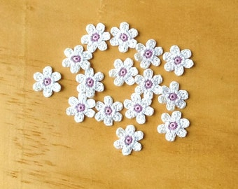 Crochet Flowers Appliques 117.14 --- 12 pcs --- Tiny Size flowers in White Petals with Centre in Purple