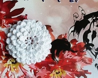 Crochet Flowers Appliques 123.1 - Layers Flowers in White Color  - 1 pc