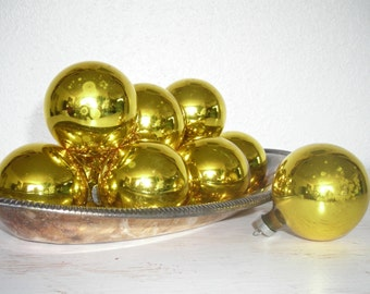 bright gold glass christmas ornaments - vintage holiday balls - shabby cottage beach chic - hollywood regency - wreath garland tree supply