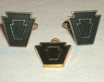 Vintage Harvale Gold Plate Japanned Shield Cufflinks Cuff Links & Pendant