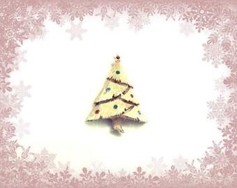 Vintage Rhinestone Christmas Tree Pin Brooch JJ Jonette Gold Plate RS Ornaments