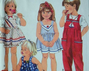 Simplicity 7833 Toddlers' Dress And Jumpsuit, Each In Two Lengths And Bloomers, Sizes 1/2-1-2, Factory Folded