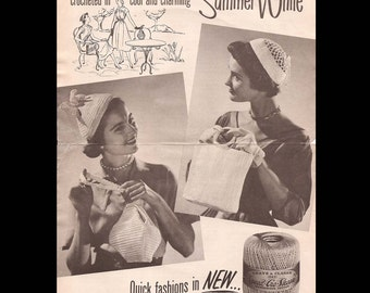 Coats and Clark Quick Fashion in New Summer White - Vintage Crochet Pattern C-576 c. 1954