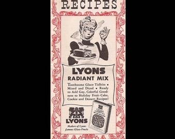 Lyons Radiant Mix Recipes - Vintage Recipe Booklet