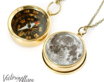 Moon Compass Necklace - Working Pocket Compass Featuring the Moon on the Back, Brass or Silver finish, Vintage Style