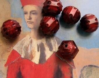 Dark Red Beads Plastic, Vintage West German Faceted Plastic Bead, Dark Red Opaque Bead, Unique Loose Beads, Crafts, Jewelry Making 10