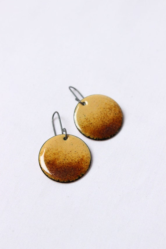 Enamelled earrings corn yellow and brown color  made of Sterling silver and copper, Goldenrod, Setting sun earrings, Enamel Jewelry