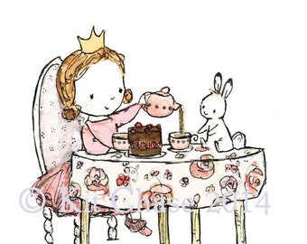 Royal Tea Party -- Archival Print -- Children's Art