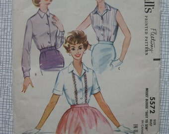 "1960 Blouse - 34"" Bust - McCall's 5572 Sewing Pattern"