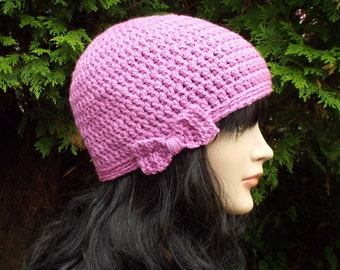 Orchid Crochet Hat, Womens Beanie with Bow, Ladies Winter Cap, Light Purple Ski Hat