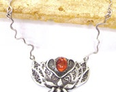 Lotus blossom necklace in sterling silver, handmade chain necklace, symbolic amber gemstone necklace