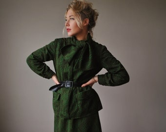 1960s Olive Textured Suit, Size small