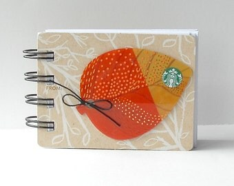 STARBUCKS Mini Leaves Upcycled Gift Card Spiral Notepad Notebook