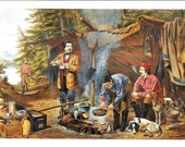 Currier Ives Print - Pioneer Print - Vintage Lithograph Postcard - Camping Print - Authur F Tait - Camping in the Woods - Americana - 1860s