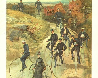 Bicycle Print 1887 Bicycle Club on the Road Print Vintage Bikers Unicycle Print Book Plate American Heritage U S History Illustration 1963