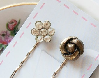 Sparkle - Rustic bobby pins with vintage treasures