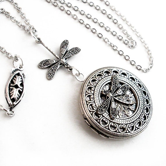 Silver Dragonfly - Filigree Collage Locket Necklace Jewelry