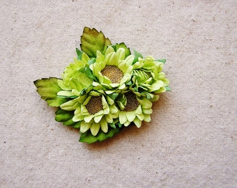 Pistachio green Gold Daisies bunch Vintage style Millinery Flower spray Bouquet- corsage, floral shabby chic-4814 OOAK