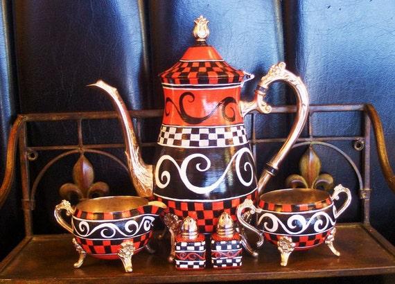 Black n' Red Swirled Tea ervice