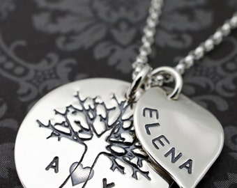 Personalized Family Tree Necklace - Family Oak Tree w/ Small Leaf Charm - Tree of Life w/ Family Initials - Sterling Silver Jewelry by EWD