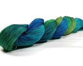 150 Yards Hand Dyed Cotton Crochet Thread Size 10 3 Ply Specialty Thread Blue Aqua Green Teal Fine Cotton Yarn