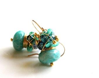 Aqua blue, Amazonite earrings with Apatite Weddings bridal prom graduation