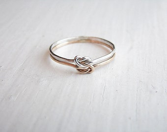 Double Love Knot Ring Sterling Silver Gold Fill