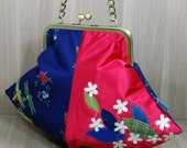 Pod Evening Bag - Purse - Dragonflies - Flowers - Metal Clip Frame - Kiss Lock Frame - Chain Handle - Red - Blue - Green - Cream
