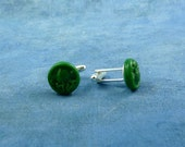 Green Cthulhu Cuff Links, Polymer Clay Lovecraft Accessories