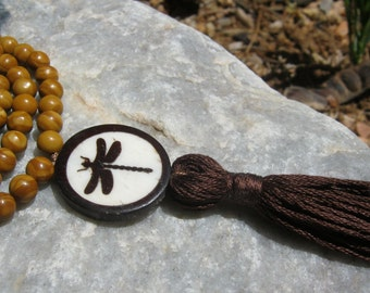 Wood Jasper Mala Prayer Beads Rosary with Dragonfly - tan and brown
